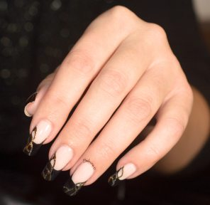 NAIL ART FRENCH NOIRE FOILS OR (2)