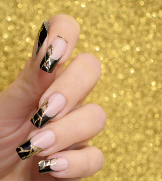 NAIL ART FRENCH NOIRE FOILS OR (7)