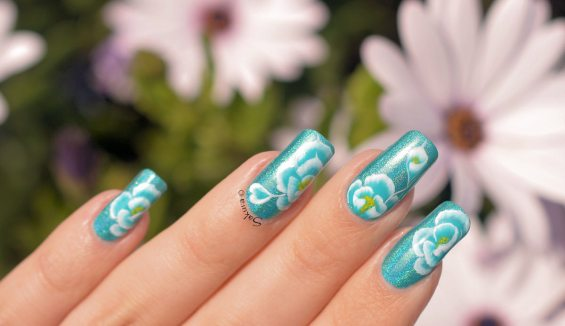 NAIL ART ONE STROKE ROSE BLEUE 3