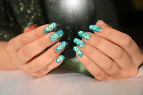 NAIL ART ONE STROKE ROSE BLEUE 4