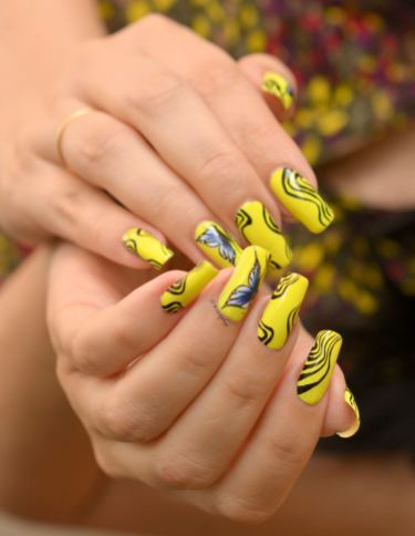 NAIL ART ONE STROKE PAPILLONS FLUO 10