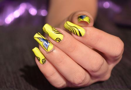 NAIL ART ONE STROKE PAPILLONS FLUO 5
