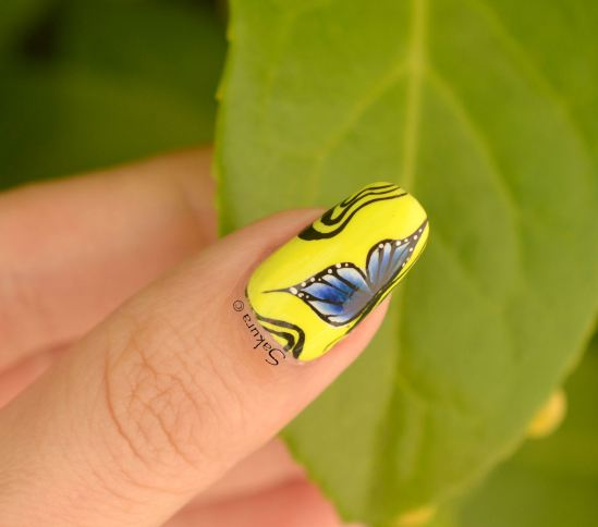 NAIL ART ONE STROKE PAPILLONS FLUO