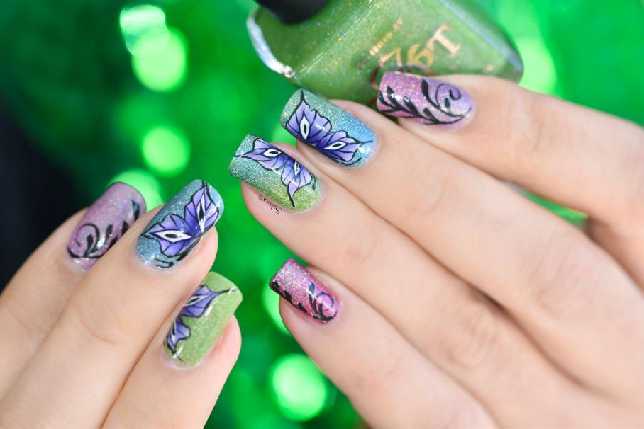 NAIL ART ONE STROKE BUTTERFLY 4