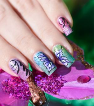 NAIL ART ONE STROKE BUTTERFLY 8