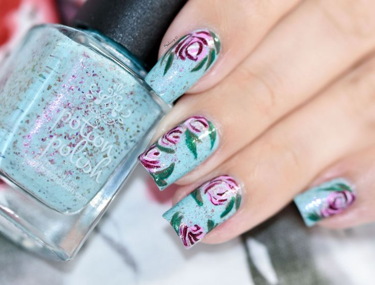 NAIL ART ROSES VINTAGES 2