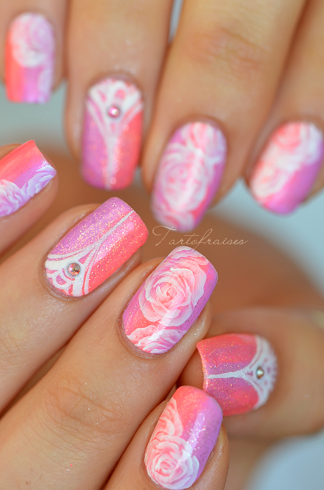 nail art pastel fluo roses effet sucre graphique et d grad tartofraises. Black Bedroom Furniture Sets. Home Design Ideas