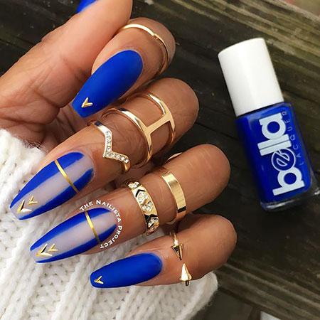 Blue Nail Matte Art Gold Design Coffin