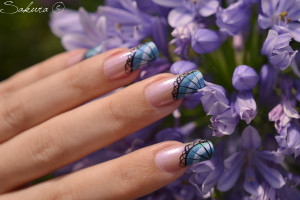 NAIL ART EVENTAIL BLEU