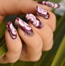NAIL ART ONE STROKE ROSE 9