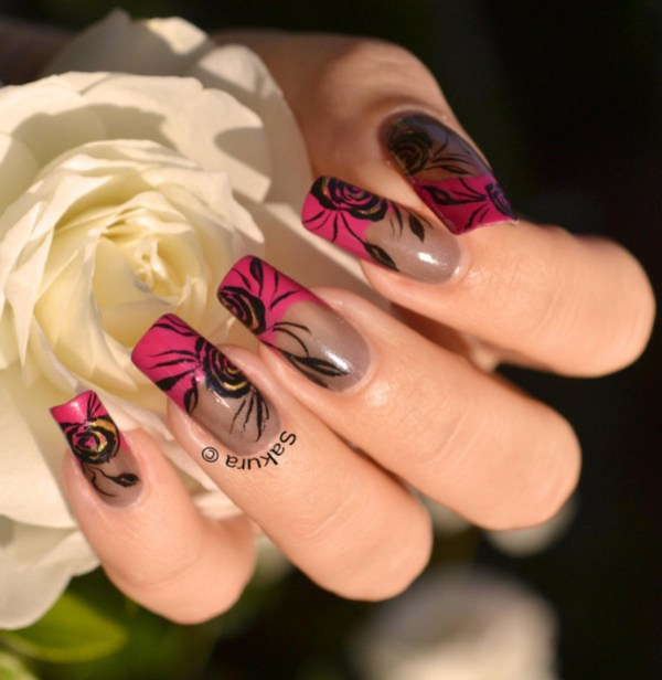 NAIL ART FRENCH ROSES 8