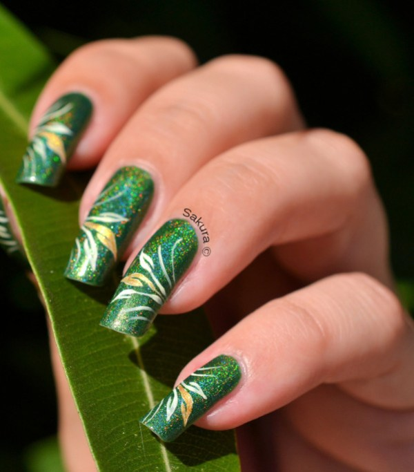NAIL ART FEUILLAGES 10