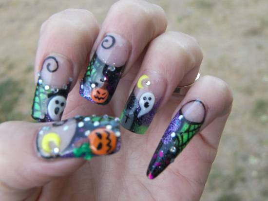 3d Halloween nails