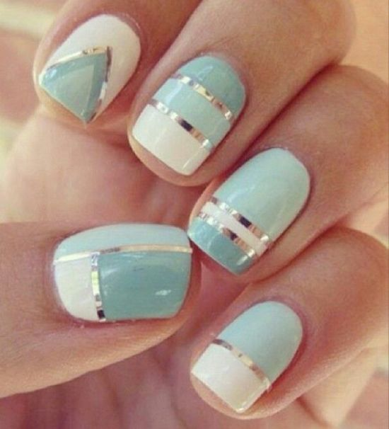 Light blue and white striped nail art