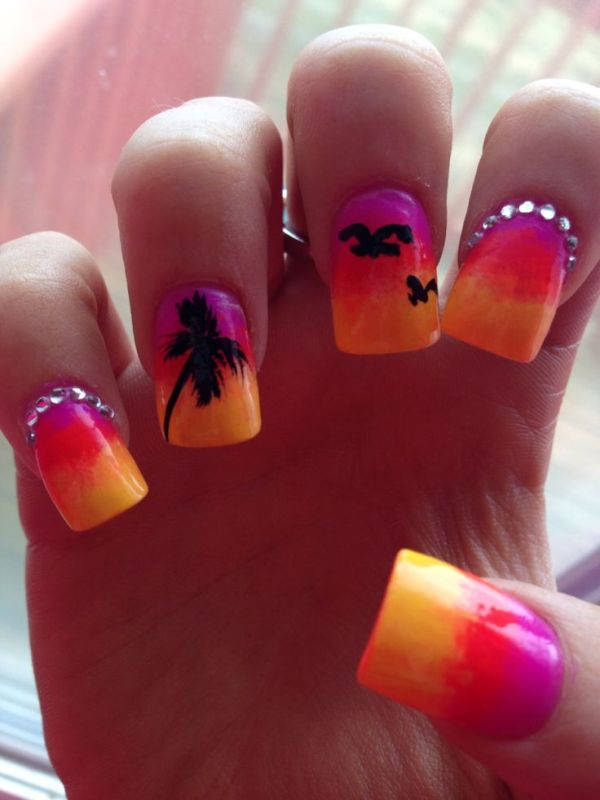Summer Tropical Nail Art with Palm Tree and Birds