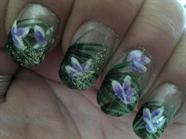 Tropical Jungle Flower Nail Art