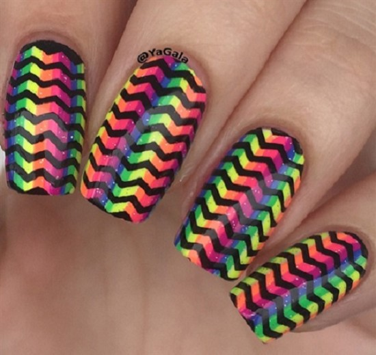 The Rainbow Chevron Nails