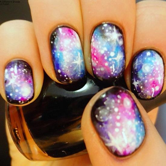 Glittery Galaxies Nail Art