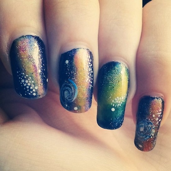 White Stars Design Galaxy Nail Art