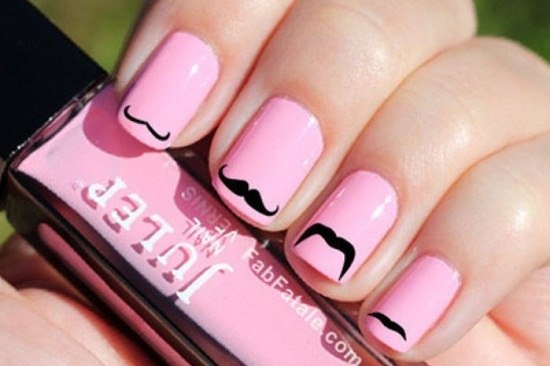 Pink Mustache Nail Design