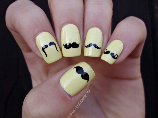 Sunny Mustache on Nails