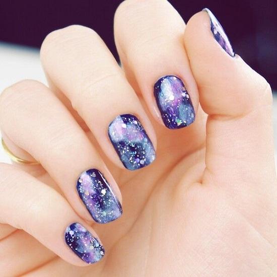 Trendy Purple Galaxy Nail Arts