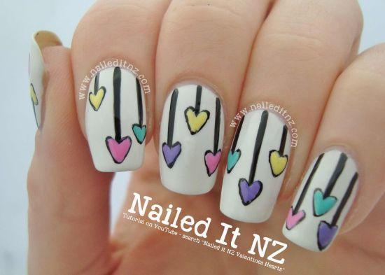 Valentines heart nail tutorial