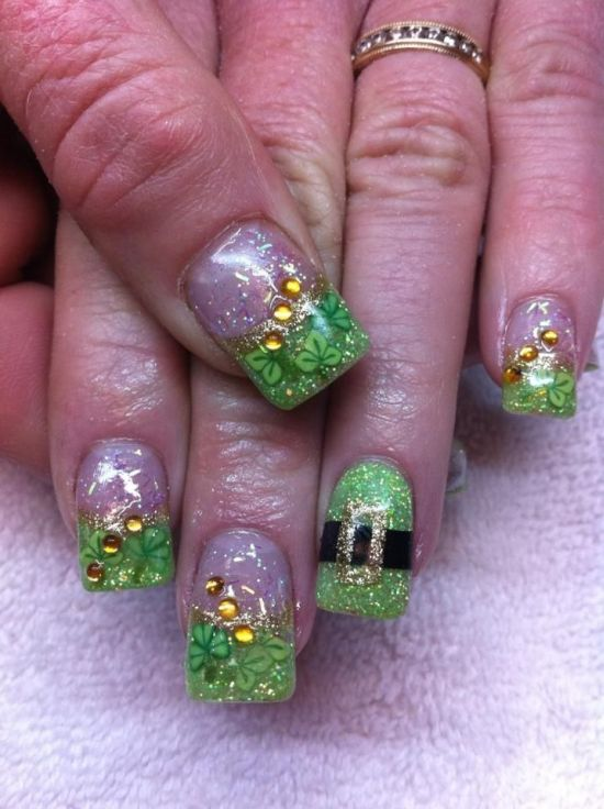 Pretty Saint Patricks Day Nail Designs