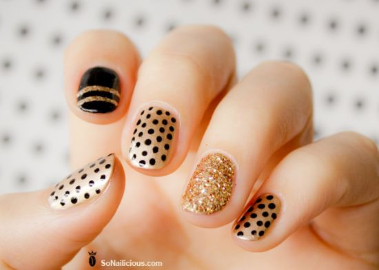 Black And Gold Nail Design With Polka Dots