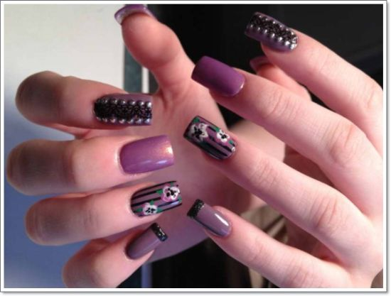 Cool Purple Nails With Fl Art
