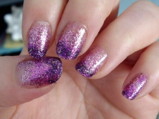 Cute Pink Glitter Nails With Dark Purple Tips