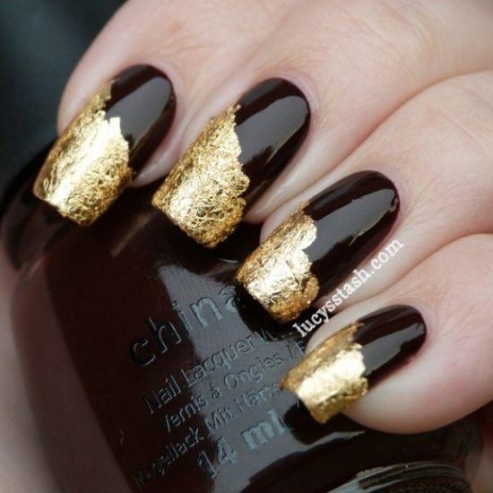 Gold Foil Design On Black Nails