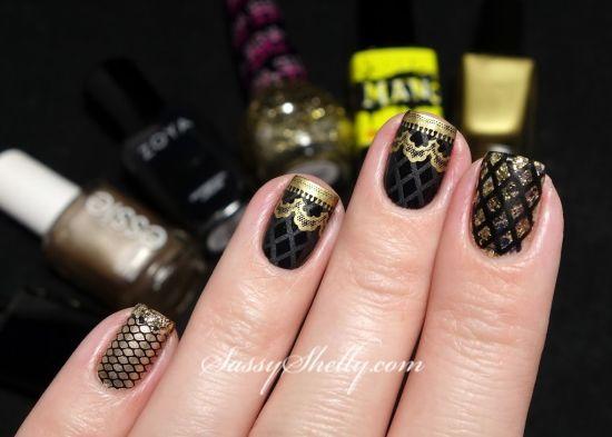 Gold Nail Art Designs Geous And Black Fish Nails