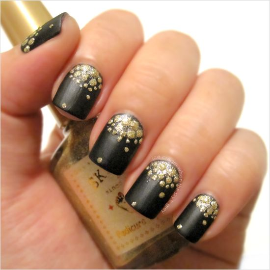 Matte Black And Golden Glittery Half Moon Nails