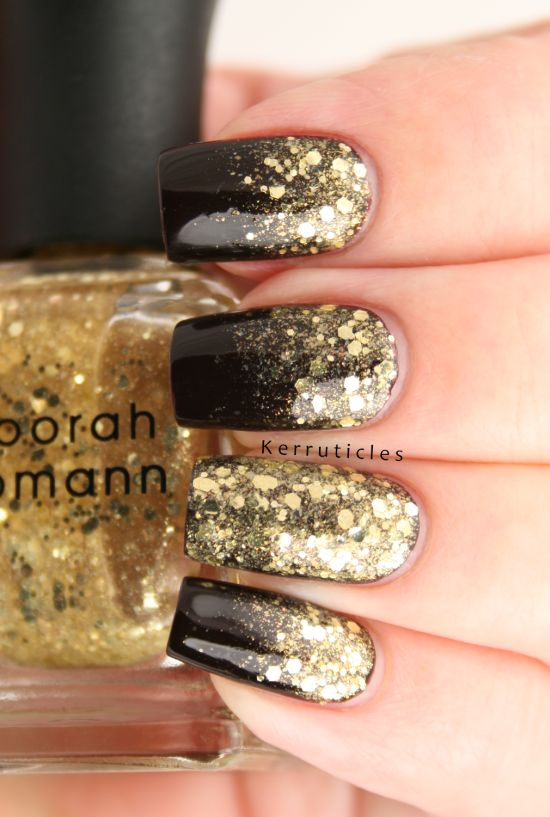 Gold Nail Art Designs Party Perfect And Black Nails With Grant Effect