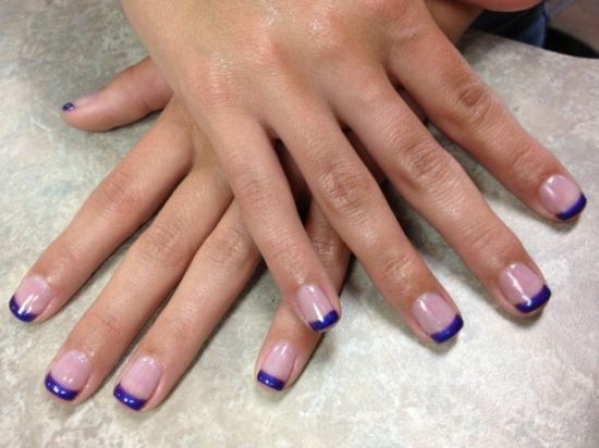 Stunning Purple French Tip Sac Nails