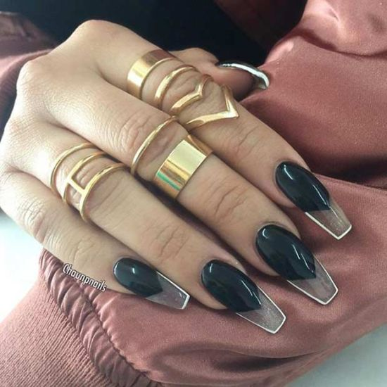 Coffin Nails With Bold Black Nail Art