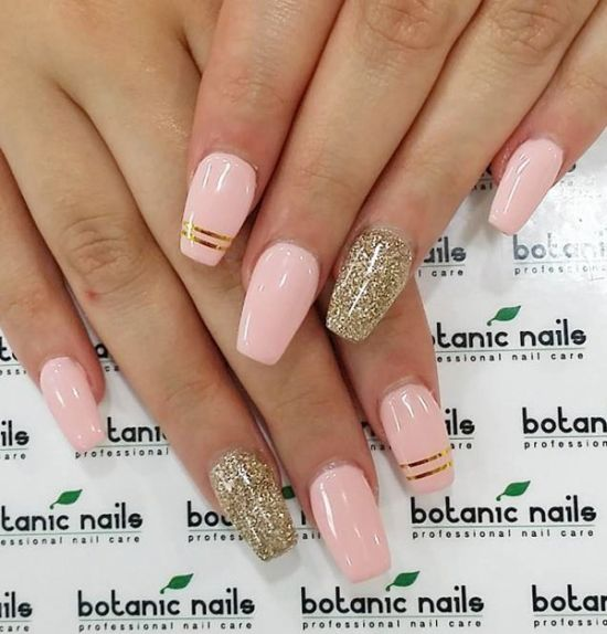 Golden Pink Accented Coffin Nails