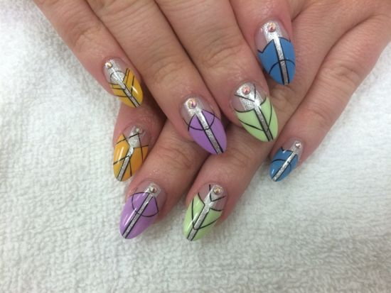 Multicolored Abstract Nails With Swarovski Stones
