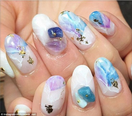 Stone Nail Art With Purple And Blue Stones
