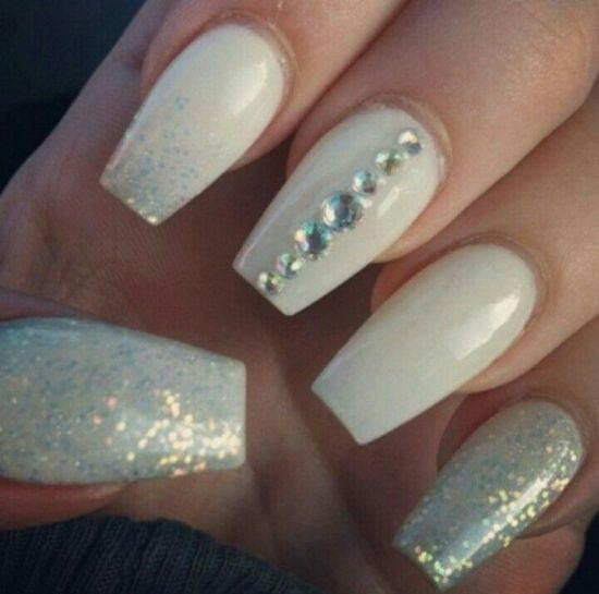 Light Blue Acrylic Nails Rhinestones