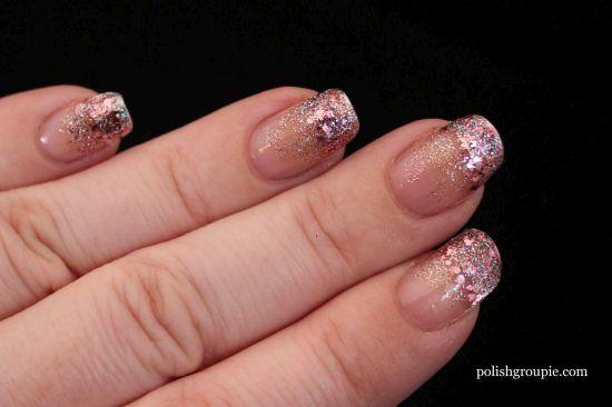 Light pink glitter gradient nails