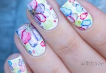 Floral, Glitter And Dots On White Nails