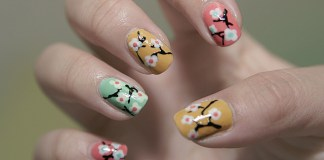 Colorful Nails With Cherry Blossoms Design