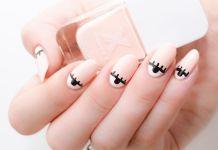 Eye Themed Half Moon Nails