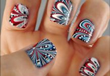 Fourth Of July Marbled Nails