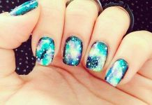 Galaxy Turquoise Nails