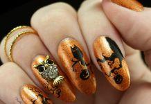Sophisticated 3D Owl Decal On Shimmering Orange Nails