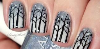 White Forest Nail Design