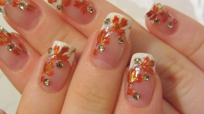 Glitter French Tip Autumn Nail Art